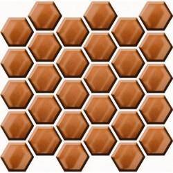 Mozaika Copper Glass Hexagon Mosaic 25X2